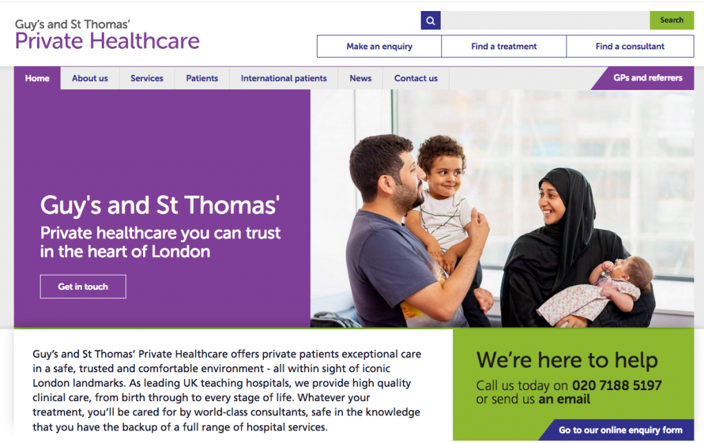 A man, his wife and two children are pictured enjoying private healthcare at Guy's and St Thomas'